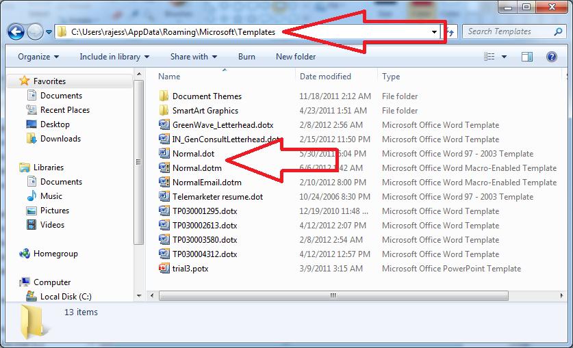 a listban ott kell legyen a normaldotm a msik keressi lehetsg start run appdatamicrosofttemplates forrs word 2013 tutorials